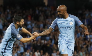 Football Soccer Britain - Manchester City v Steaua Bucharest - UEFA Champions League Qualifying Play-Off Second Leg - Etihad Stadium, Manchester, England - 24/8/16 Manchester City's Fabian Delph celebrates scoring their first goal with Nolito Action Images via Reuters / Carl Recine Livepic EDITORIAL USE ONLY.